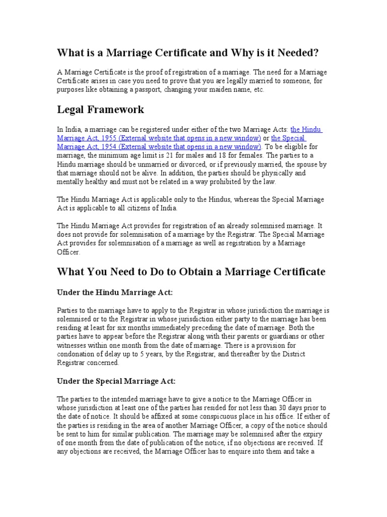 What is a Marriage Certificate and Why is it Needed?