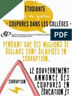 Voix étudiante collégiale du Québec - Coupures dans les cégeps