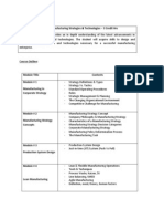 Course Outline - Manufacturing Strategies & Technologies