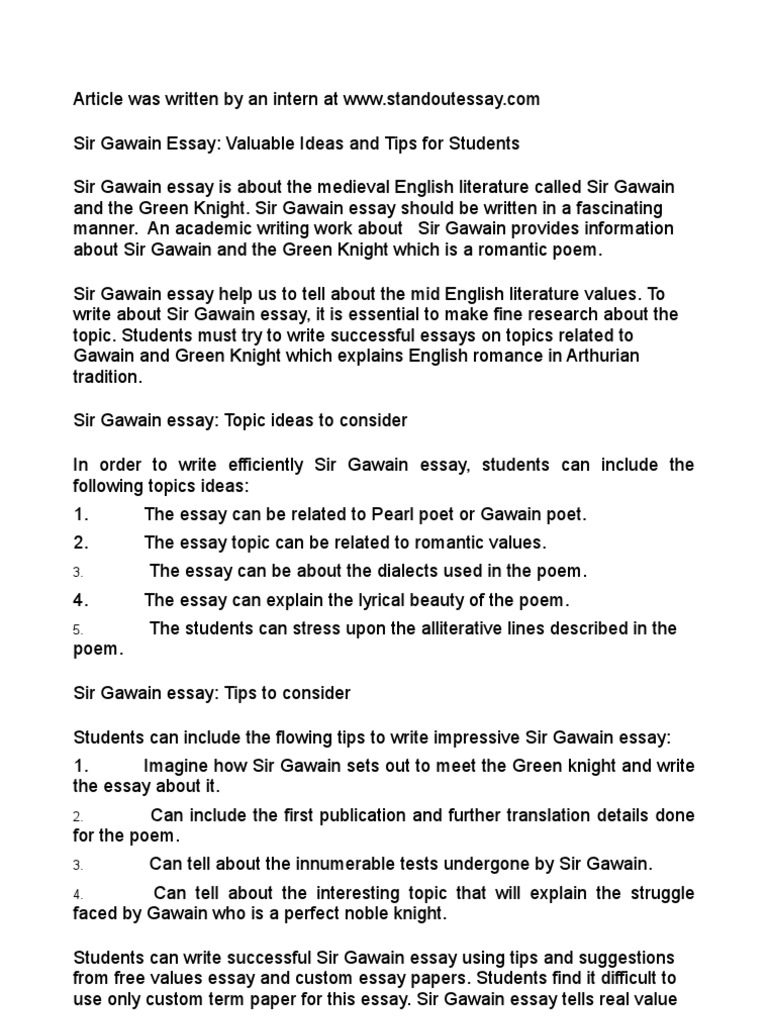 Sir Gawain Essay Valuable Ideas And Tips For Students  Someone To Do My Report also How To Write An Essay For High School  Reflective Essay On English Class