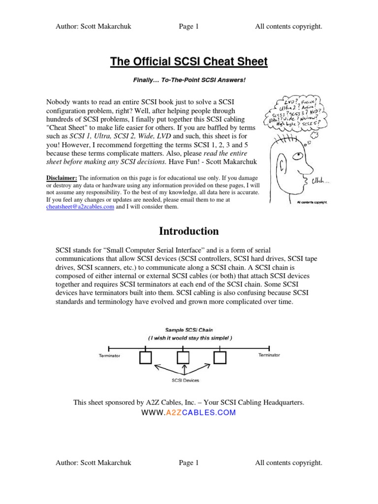 Scsi Cheat Sheet Electrical Connector Computer Data Storage Wiring Diagram