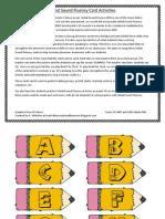 Initial Sound Fluency Card Activities Pencils