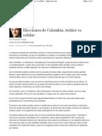 Elecciones de Colombia, twitter vs celular