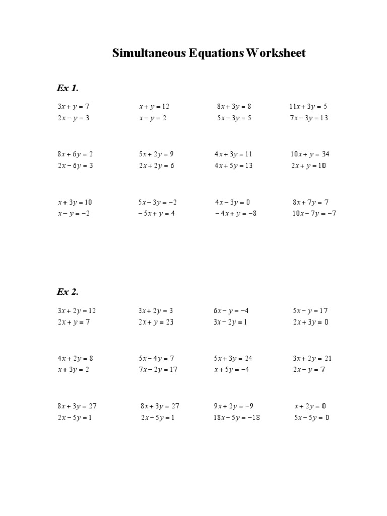 Worksheet Simultaneous Equations Worksheet simultaneous equations worksheet