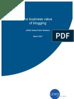 Business value of blogging (Whitepaper by Lewis PR)