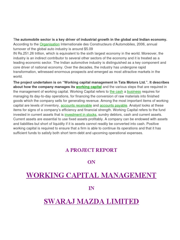 A project report on working capital management working capital inventory