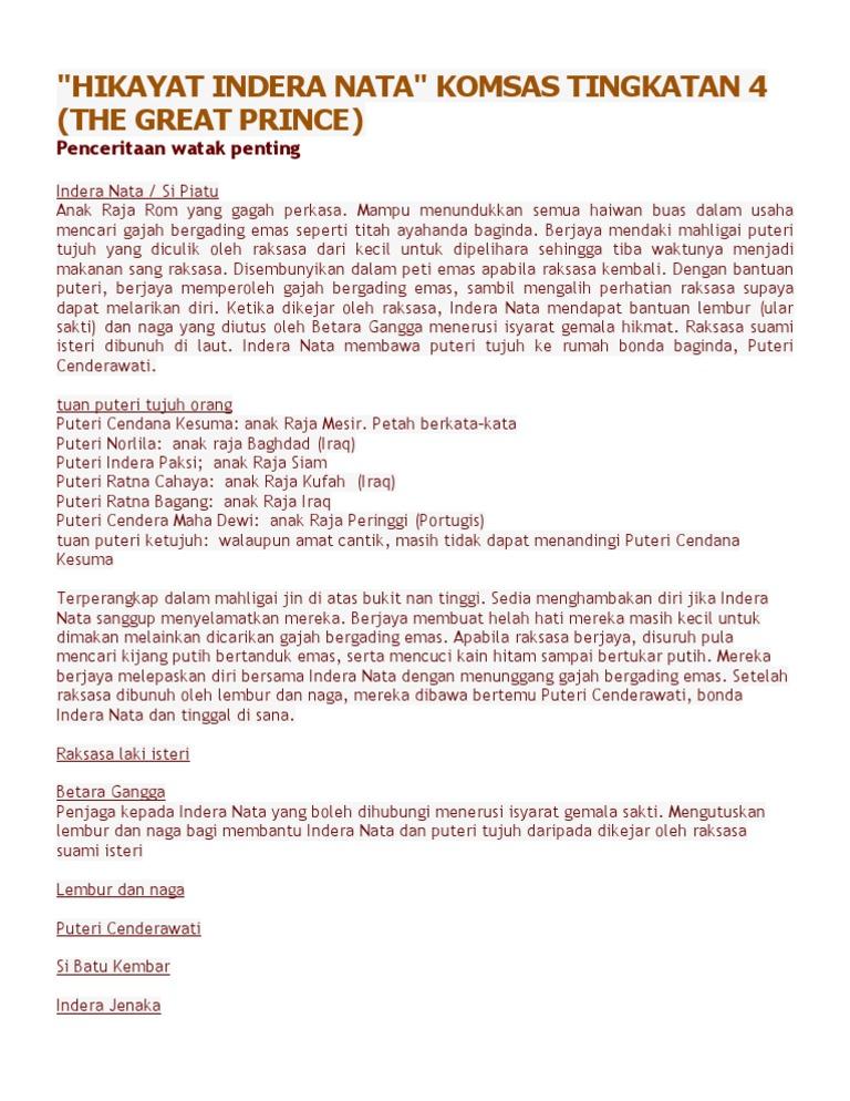Nota Hikayat Indera Nata