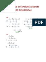 SISTEMA DE 2 ECUACIONES LINEALES CON 2 INCÓGNITAS