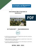 Mba-fem Sau in Nitra -Student Handbook