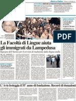La Facoltà di Lingue aiuta gli immigrati da Lampedusa - Il Resto del Carlino del 25 settembre 2011