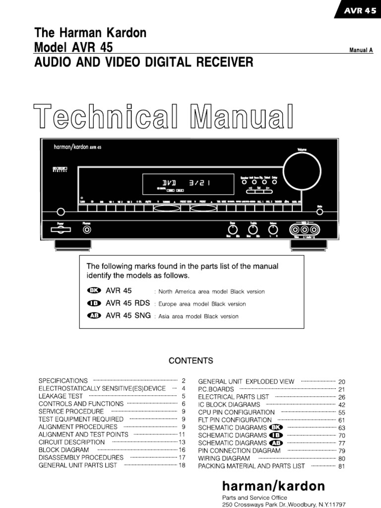 Harman Kardon Avr45 Service Manual Amplifier Video 1kw Rms Mosfet Shematic Schematic
