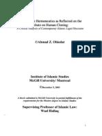 Usul Fiqh Hermaneutics and Human Cloning