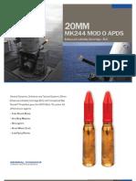 20mm MK244 MOD O APDS Enhanced Lethality Cartridge - ELC