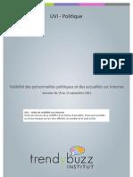 Visibilité des personnalités politiques et des actualités sur Internet - du 19 au 25 septembre 2011