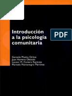 Introducción a la psicología comunitaria Escrito por Gonzalo Musito