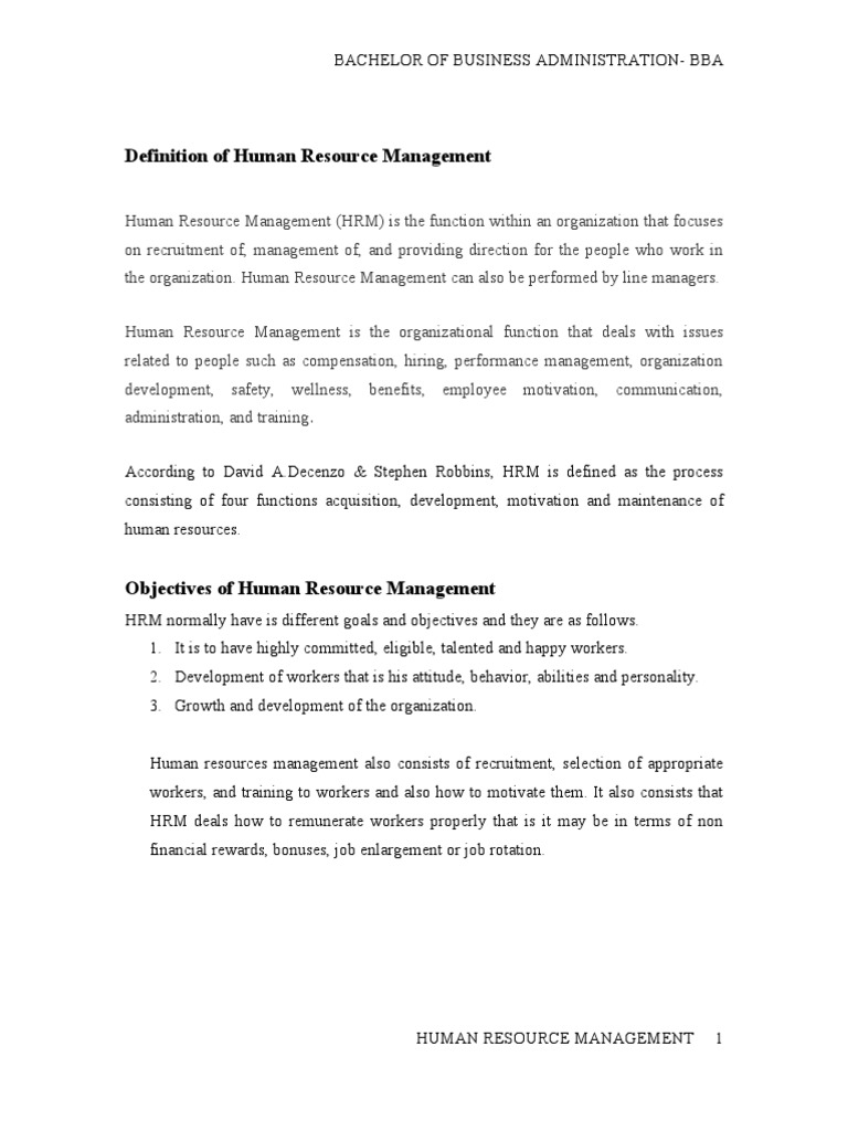 definition of human resource management | human resource management