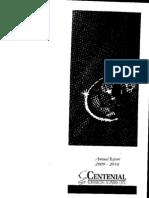 Annual Report 2009 10 Centenial
