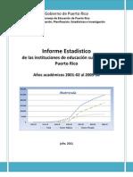 Informe Estadístico de las Instituciones de Educación Superior de Puerto Rico
