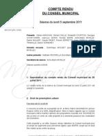 Mignovillard - Compte rendu du Conseil municipal du 5 septembre 2011