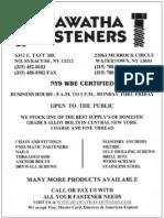 Hiawatha Fasteners Catalog