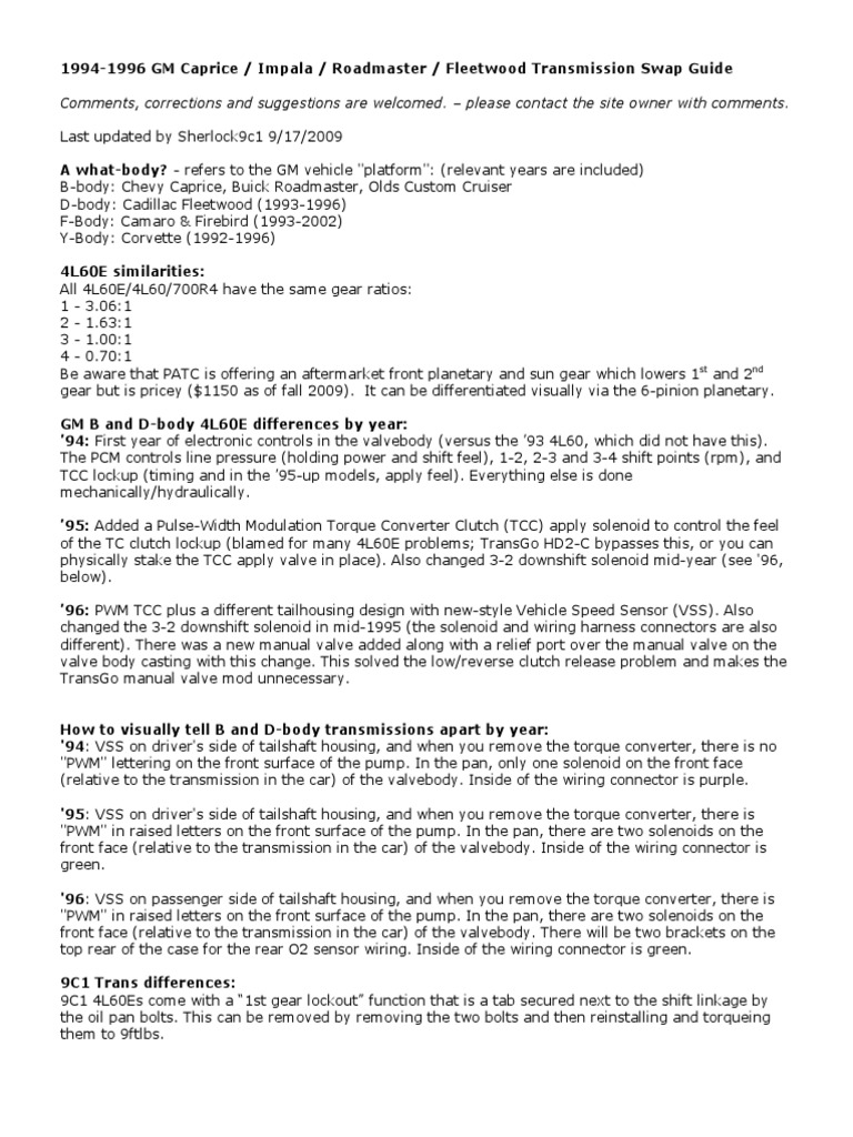 4L60E_swapguide | Manual Transmission | General Motors Vehicles