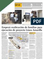 Empezó reubicación de familias para ejecución de proyecto Línea Amarilla