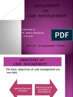 Assignment of Cash Management