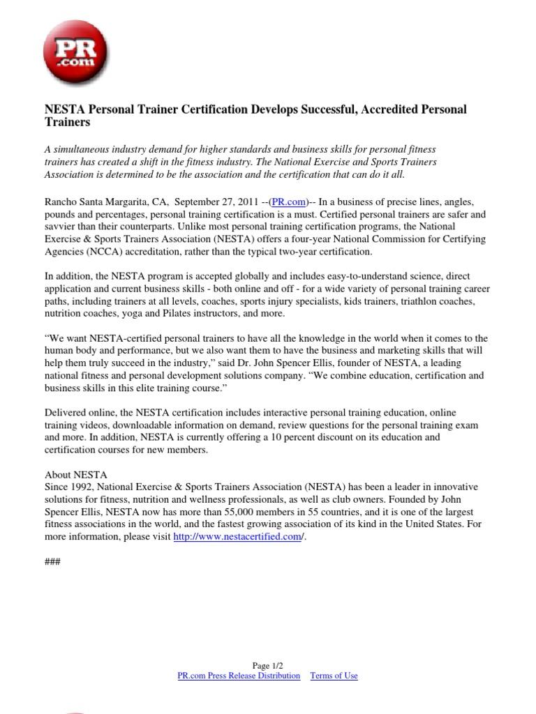 Nesta Personal Trainer Certification Develops Successful Accredited