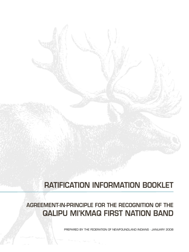 Agreement In Principle For Recognition Of The Qalipu Mikmaq First