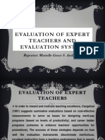 Evaluation of Expert Teachers And