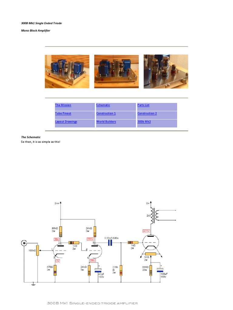 300B Mk1 Single Ended Triode | Vacuum Tube | Resistor