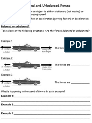 Balanced And Unbalanced Forces Friction Force