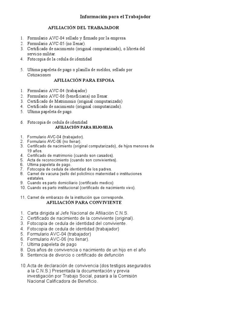 Requisitos Para Tramites de Afiliacion CNS - Trabajador