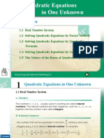 Chapter 1 Quadratic Equations in One Unknown