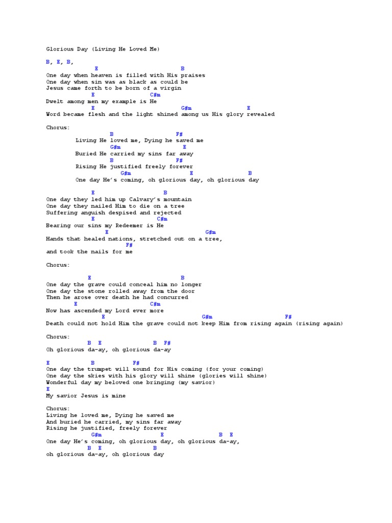 glorious day living he loved me chords pdf