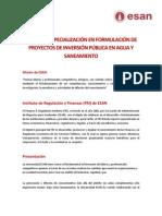 Curso de especialización Proyectos de Inversión en Agua y Saneamiento