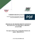Programa de Mejoramiento Genetico Regional en Camelidos