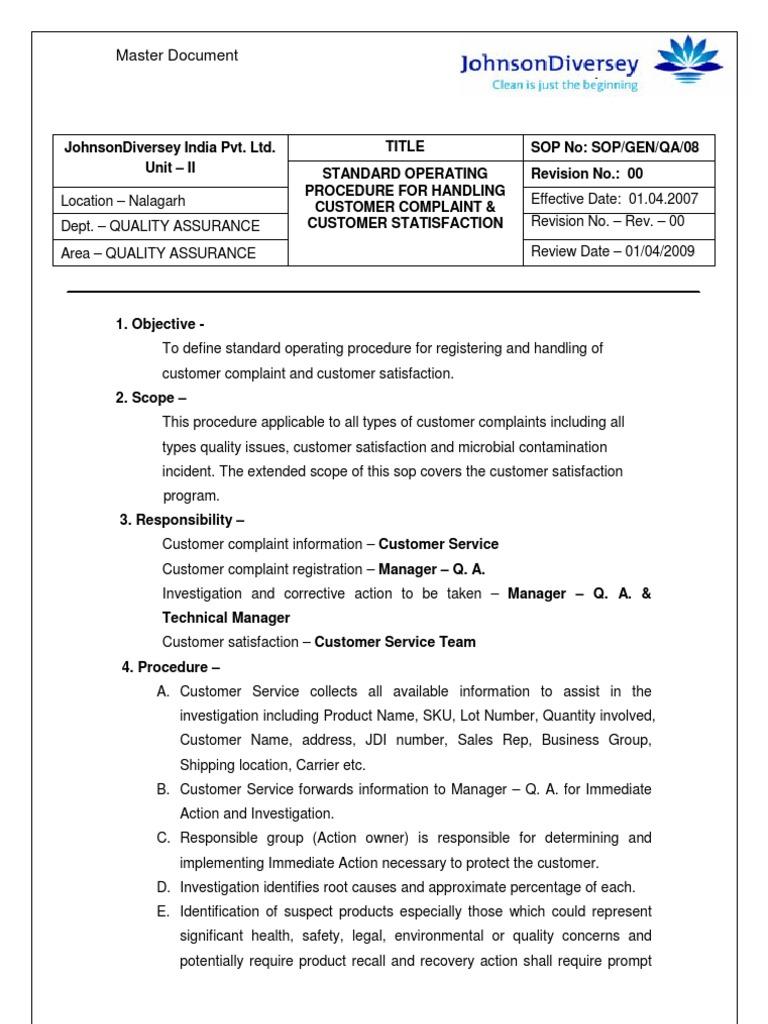 SOP Customer Complaint | Customer