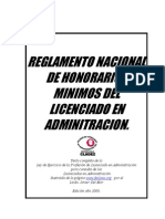 Reglamento Nacional de Honorarios Minimos