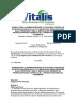 Normas para la Administración de Actividades Forestales