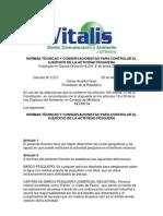 Normas Técnicas y Conservacionistas para Controlar el Ejercicio de la Actividad Pesquera
