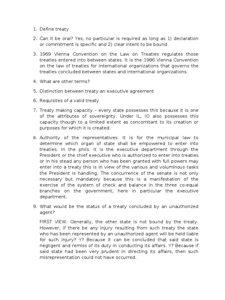 Lecture On Treaty Treaty International Law