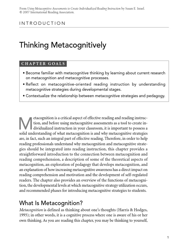 Book O Reading Metacognition Reading Comprehension
