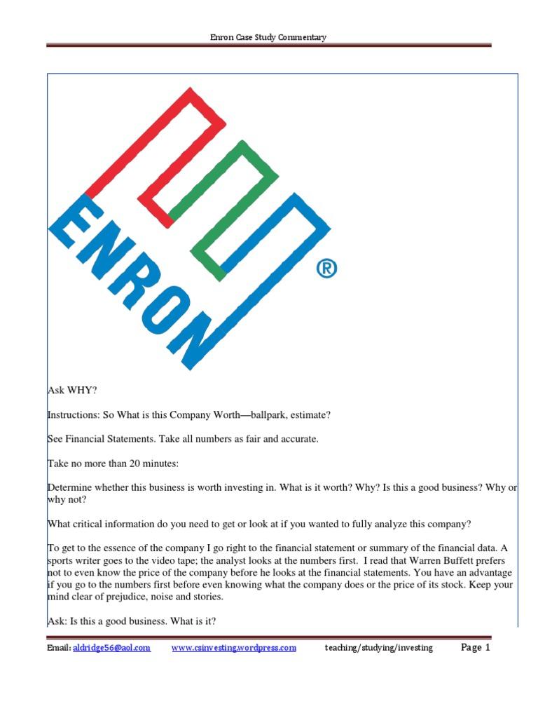 enron financial statement case essay