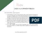 28.09.11. COMUNICADO ADN CONSULTORES