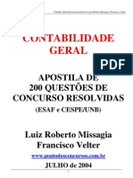 Contabilidade Geral - 200 Questoes ESAF E CESPE Resolvidas - Missagia e Velter