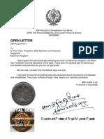 Letter to President U Thein-Sein &  Parliament  29-8-11