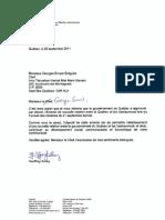 Lettre du Ministre Geoffrey Kelley au Chef Georges-Ernest Grégoire