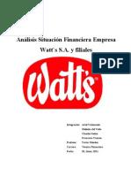Analisis Situacion Financier A Empresas Watt`s s.a. y Filiales