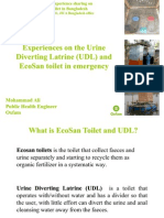 Experiences on the Urine Diverting Latrine (UDL) and EcoSan toilet in emergency, Mohammad Ali, Public Health Engineer Oxfam